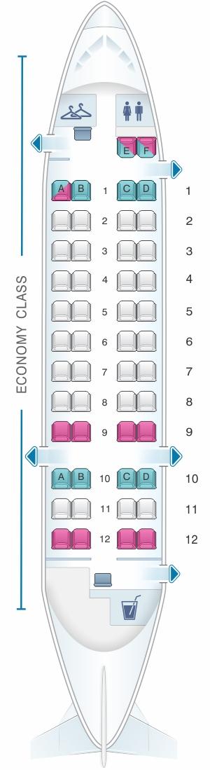 Seat map for QantasLink Dash 8 Q300