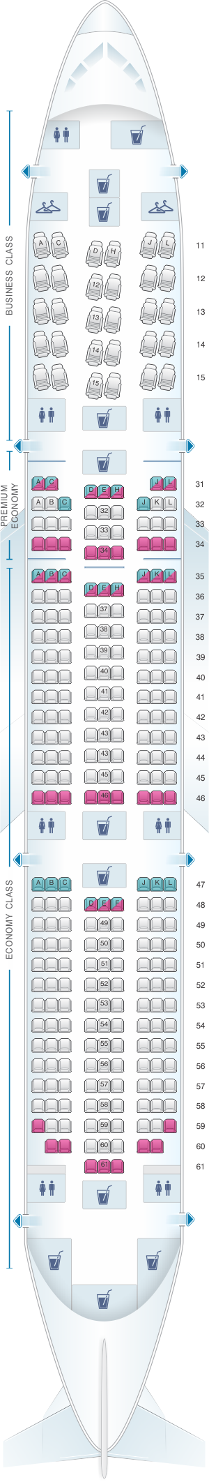 Seat map for Air China Boeing B787-9