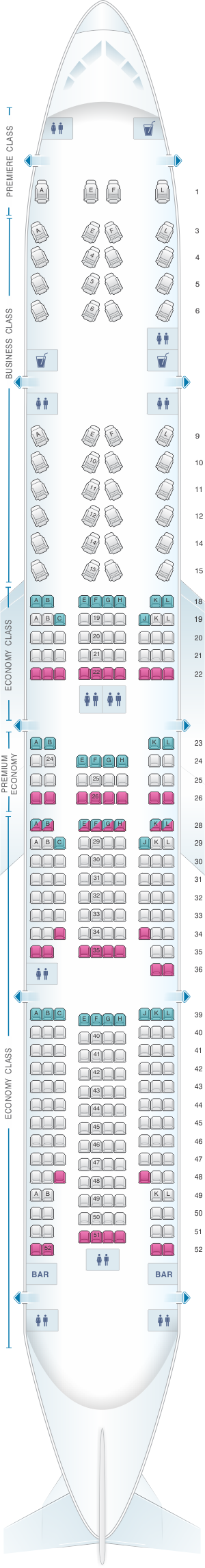 Seat map for Air France Boeing B777 300 International Long-Haul 322pax