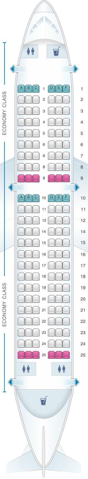Seat map for Air India Airbus A319 Single  Configuration