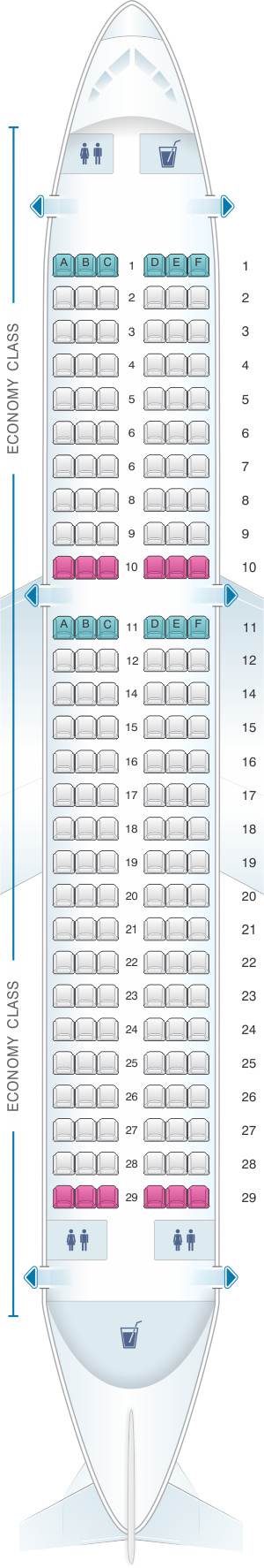 Seat map for Air India Airbus A320 231 Classic