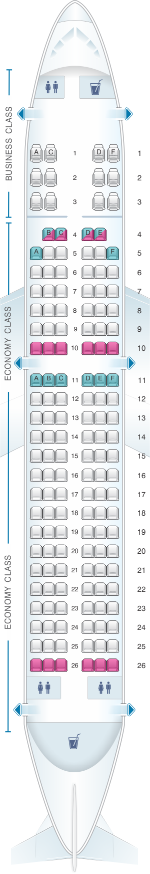 Seat map for Air India Airbus A320 Twin Classic