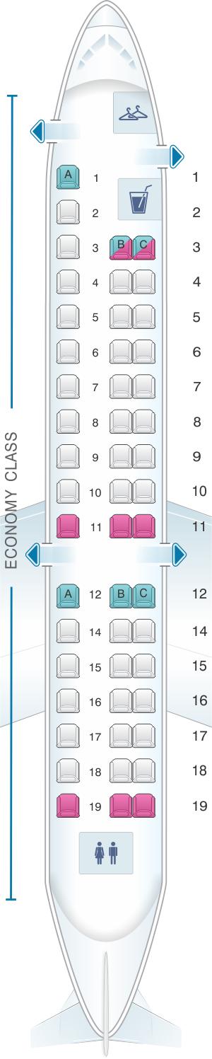 Seat map for Air Mandalay Embraer ERJ 145