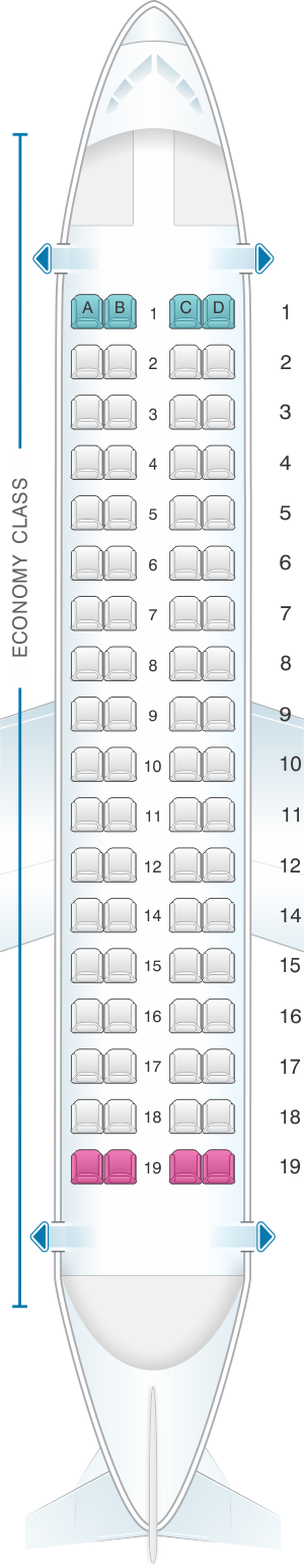 Seat map for ATR 72 600
