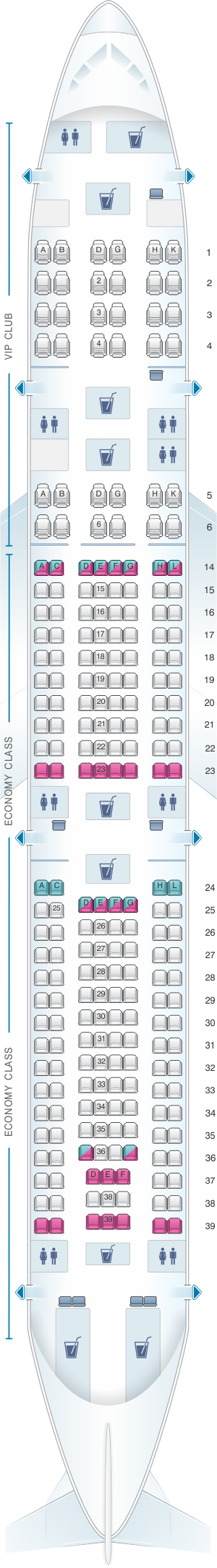 Seat map for Azal Azerbaijan Airlines Airbus A340 500