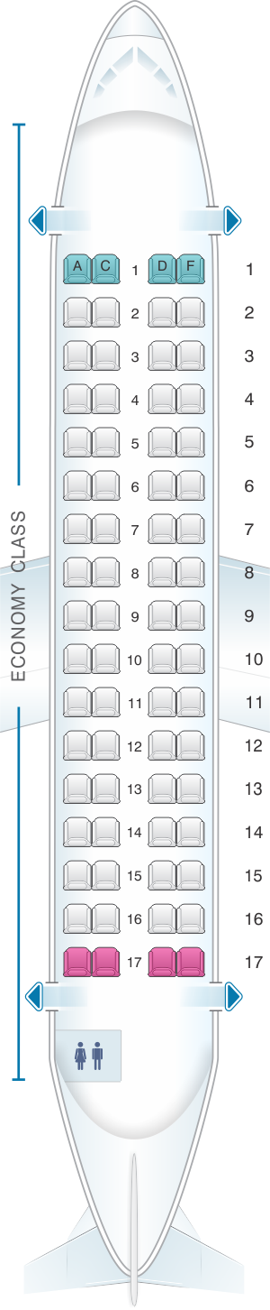 Seat map for Caribbean Airlines ATR 72 600