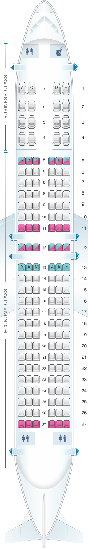 Seat map for Caribbean Airlines Boeing B737 800
