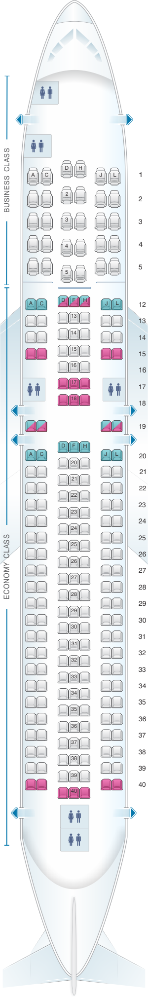 Seat map for Caribbean Airlines Boeing B767 300ER