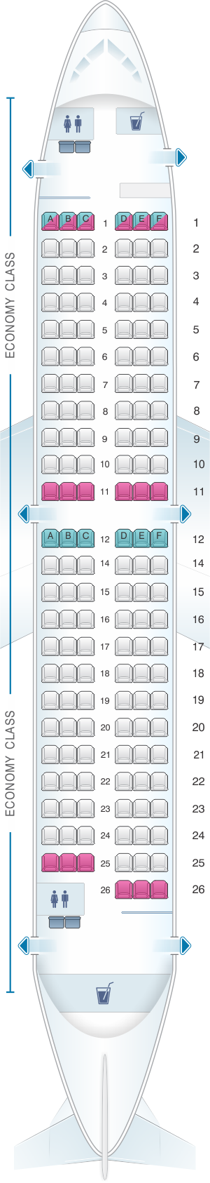 Seat map for ASL Airlines France Boeing B737-300 QC