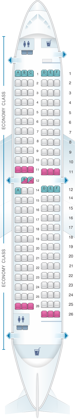 Seat map for ASL Airlines France Boeing B737-700