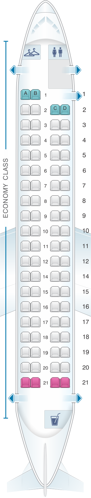 Seat map for Flybe Bombardier Q400