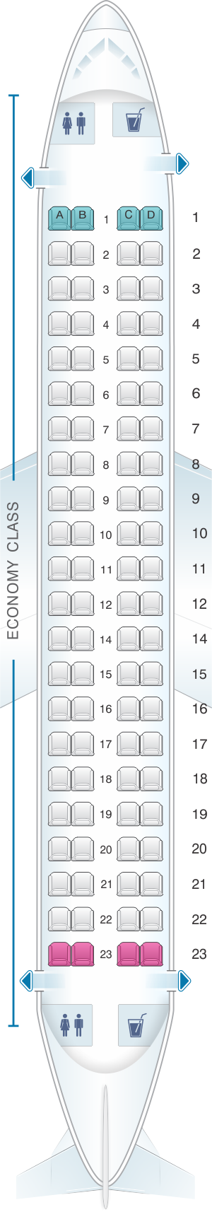 Seat map for Flybe Embraer ERJ-175