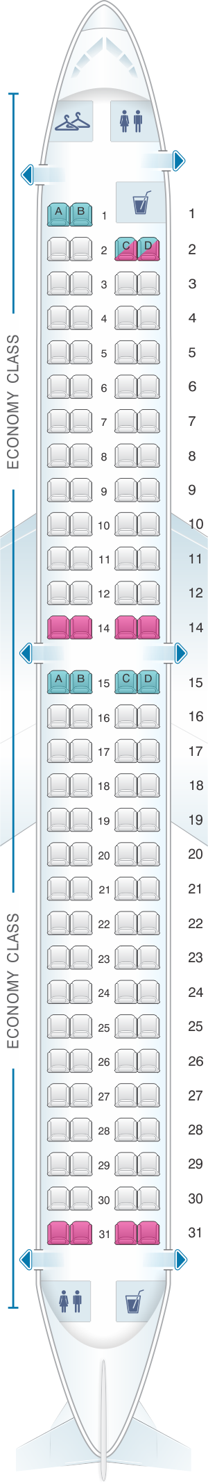 Seat map for Flybe Embraer ERJ-195
