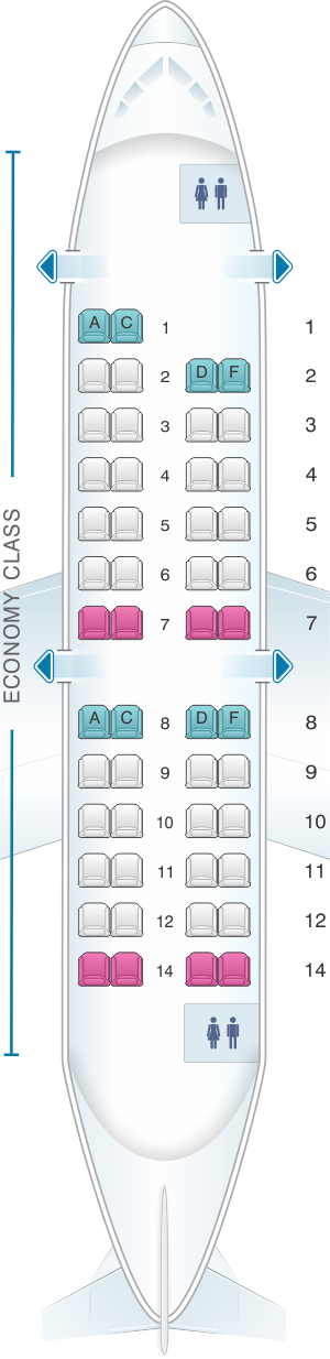 Seat map for HOP! CRJ 100