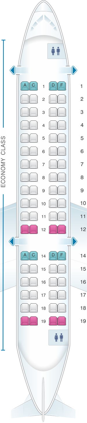 Seat map for HOP! CRJ 700