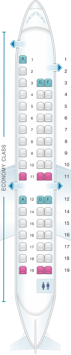 Seat map for HOP! Embraer 145