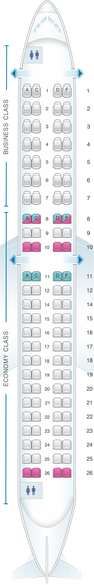 Seat map for HOP! Embraer 190