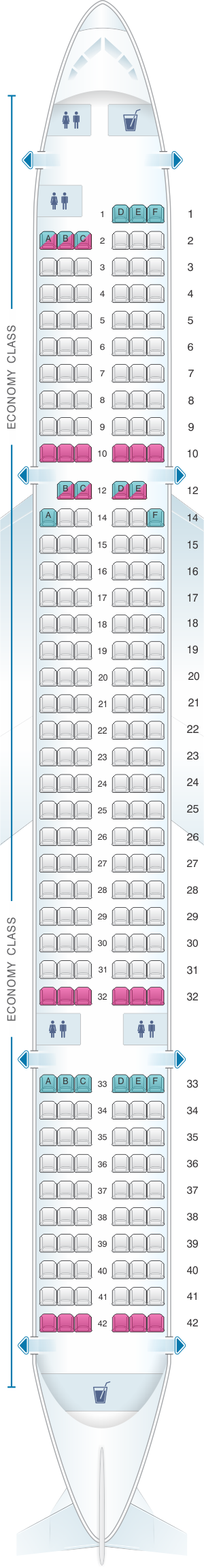 Seat map for Jet2 Boeing B757-200