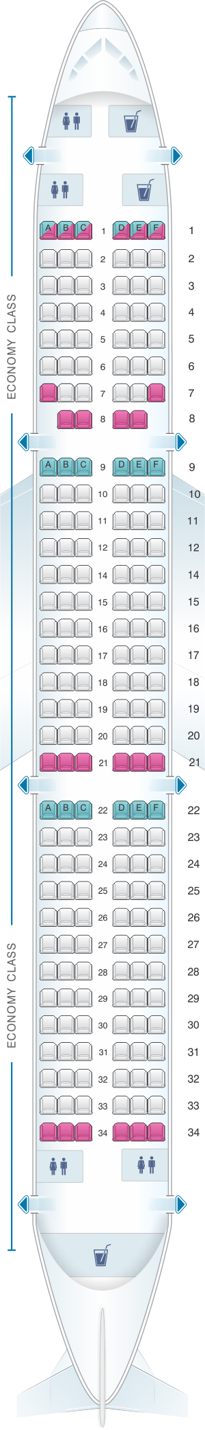 Seat map for Qatar Airways Airbus A321 200 196pax