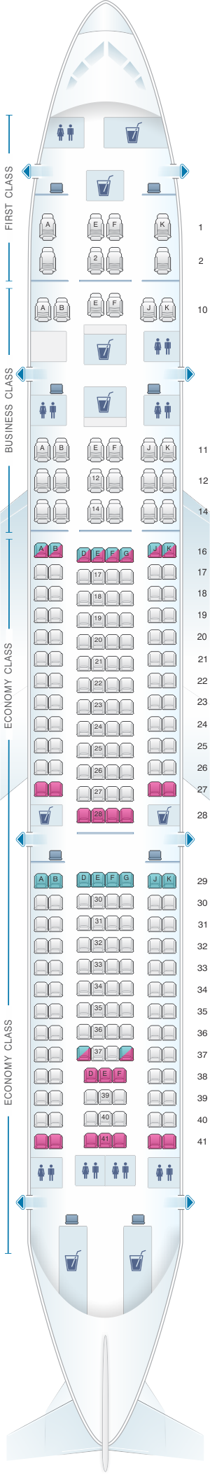 Seat map for Airbus A330 200 232pax