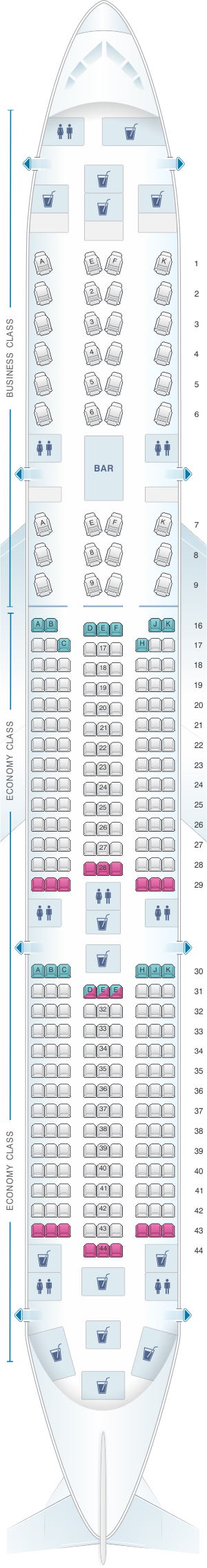 Seat map for Qatar Airways Airbus A350