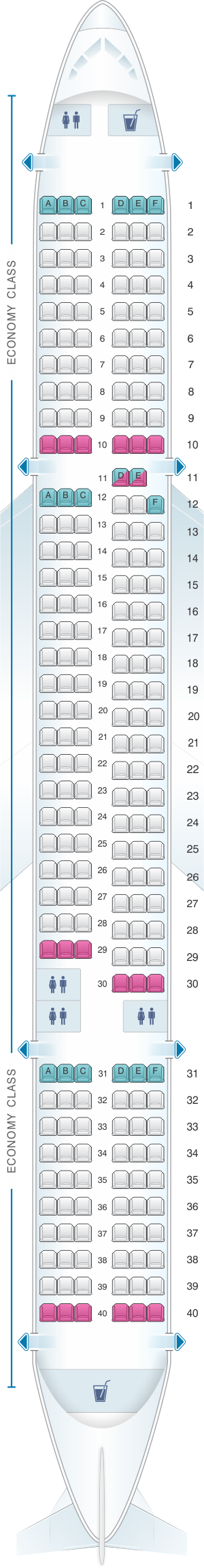 Seat map for TUI Boeing B757-200
