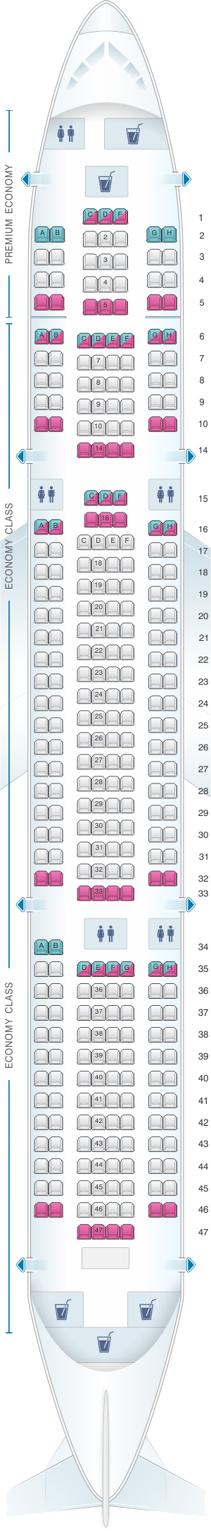 Seat map for TUI Boeing B767-300 283 pax