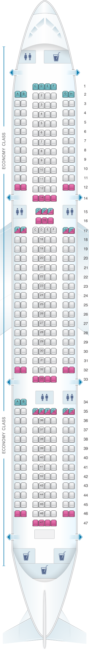 Seat map for TUI Boeing B767-300 328 pax