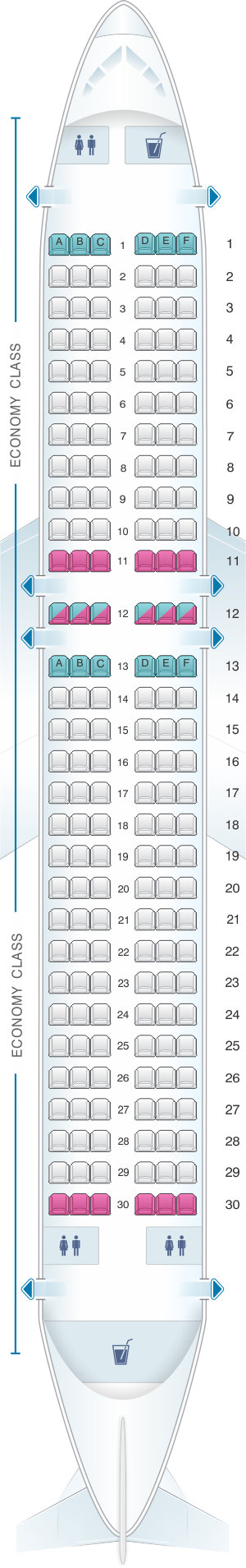 Seat map for Wizz Air Airbus A320