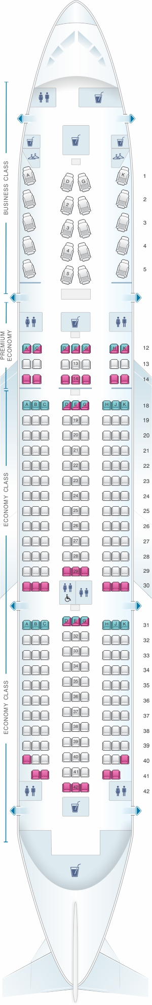 Seat Map Air Canada Boeing B787 8 788 International