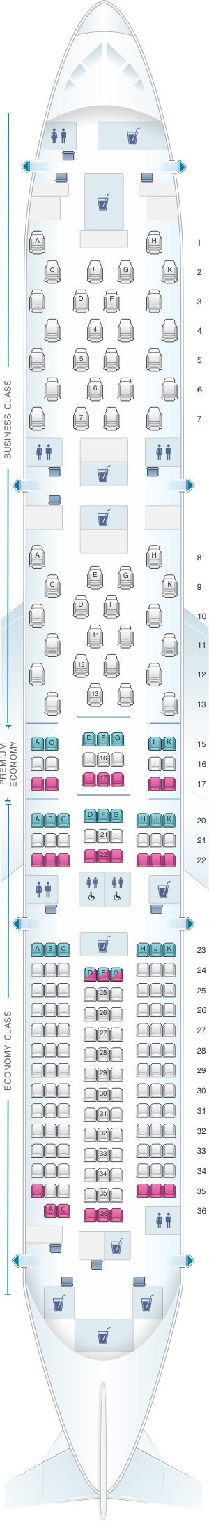 Seat map for ANA - All Nippon Airways Boeing B787-9 215pax
