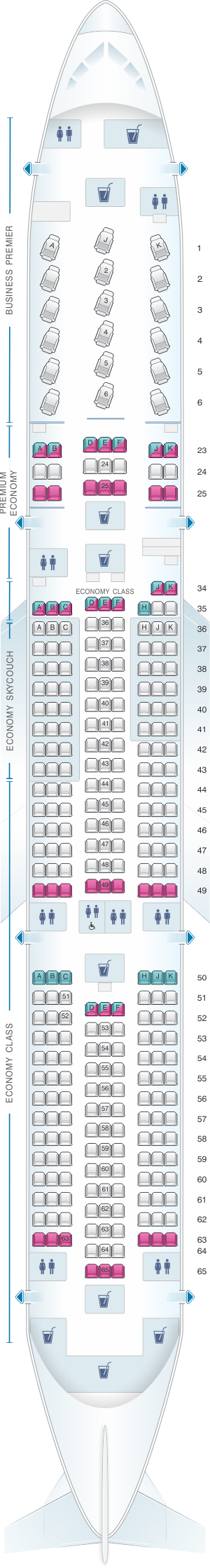 Seat map for Air New Zealand Boeing B787 9 Config.1