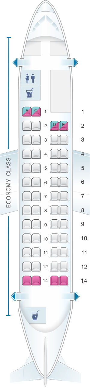 Seat map for Fokker 50