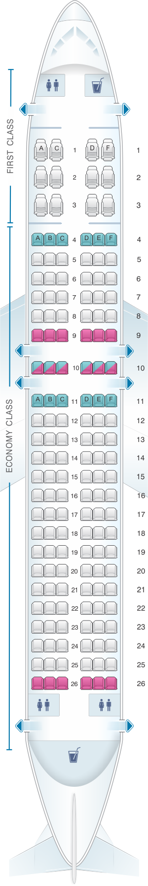 Seat map for American Airlines Airbus A320