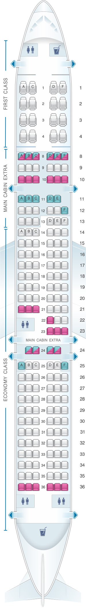 Seat map for American Airlines Airbus A321 181pax