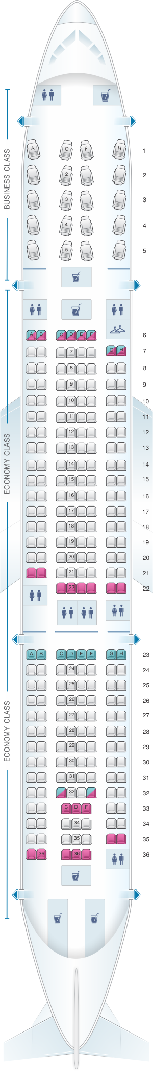 Seat map for American Airlines Airbus A330 200