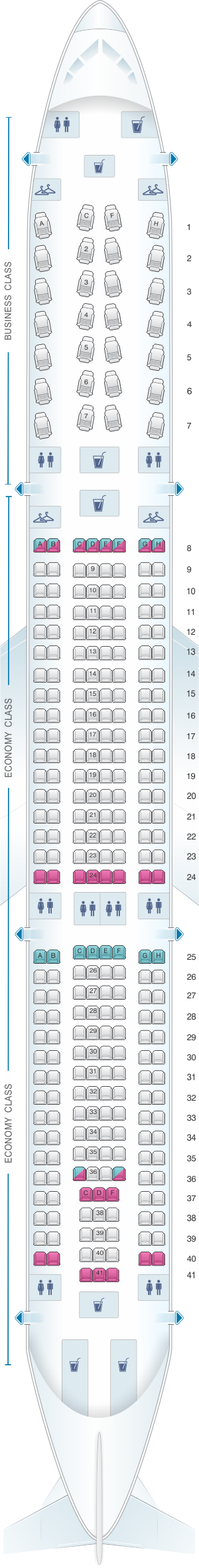 Seat map for American Airlines Airbus A330 300