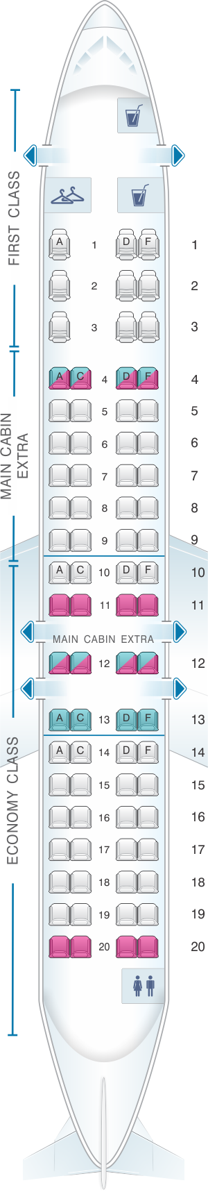 Seat map for American Airlines CRJ 900 V2