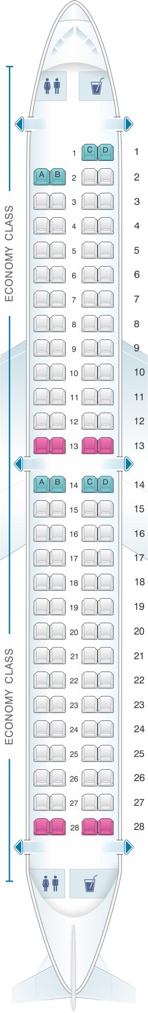 Seat map for AnadoluJet Embraer 190