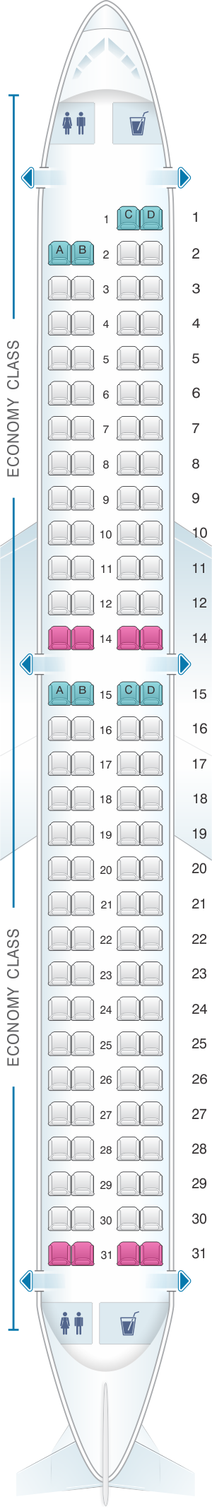 Seat map for AnadoluJet Embraer 195