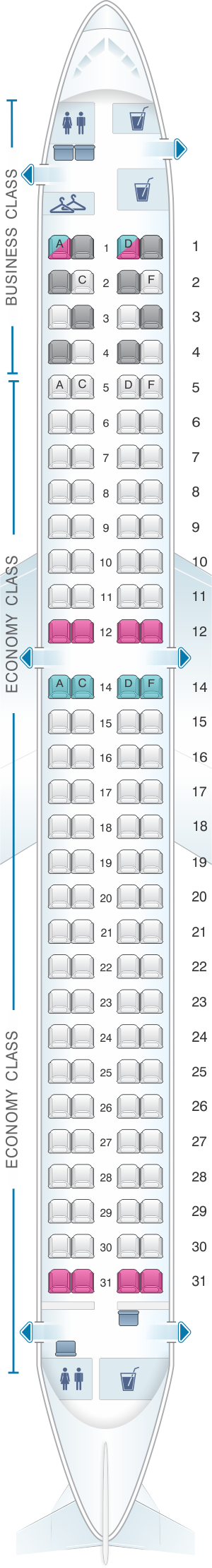 Seat map for Austrian Airlines Embraer 195