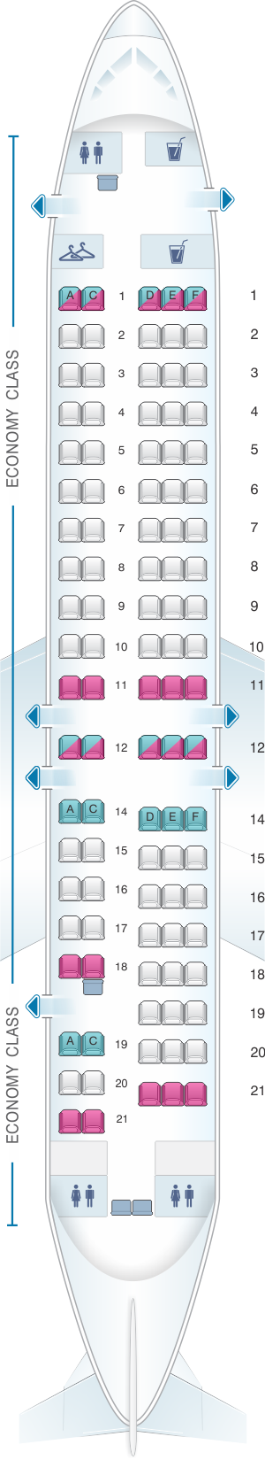 Seat map for Avanti Air Fokker 100