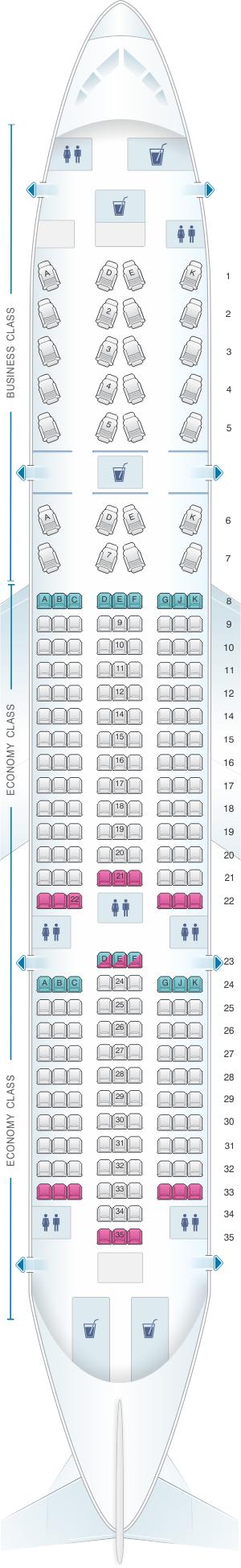Seat map for Avianca Boeing B787 Dreamliner