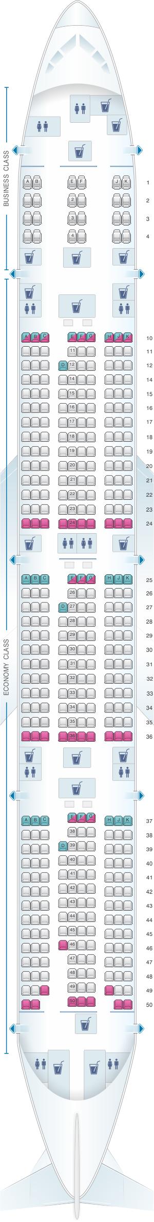 Seat map for Qatar Airways Boeing B777 300ER 412pax