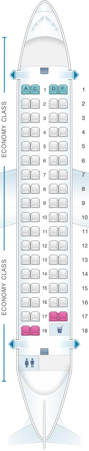 Seat map for Air Serbia ATR 72-500