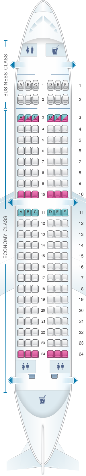 Seat map for Air Serbia Airbus A319