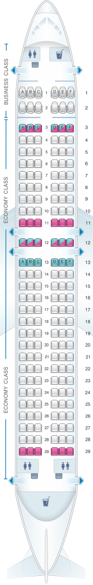 Seat map for Air Serbia Airbus A320
