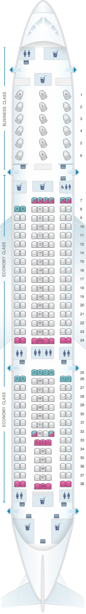 Seat map for Air Serbia Airbus A330 200