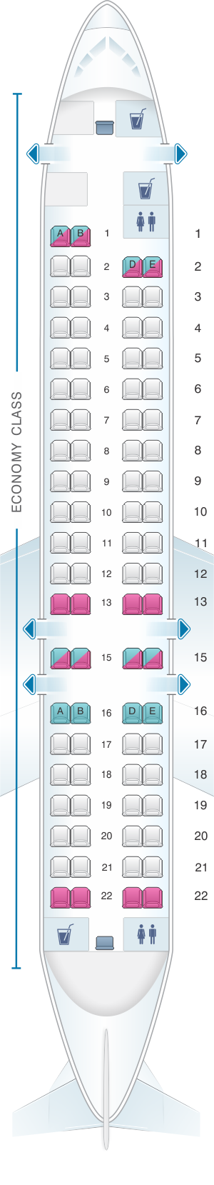Seat map for Air Serbia Bombardier CRJ-900