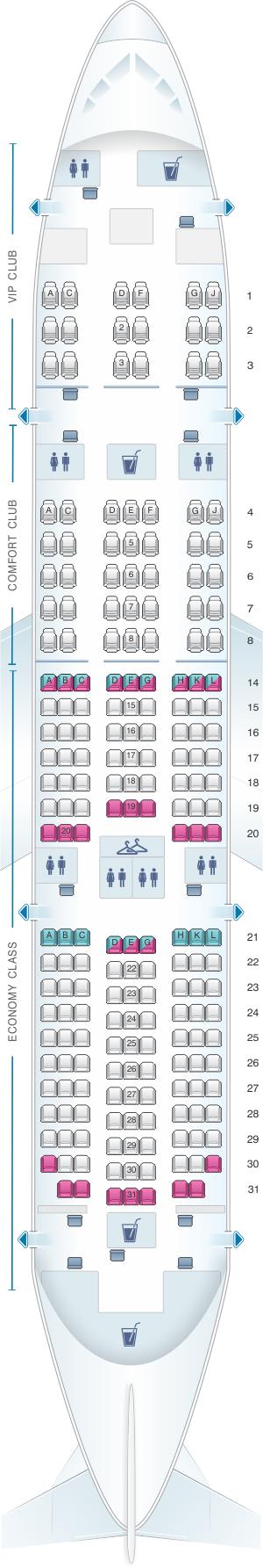 Seat map for Azal Azerbaijan Airlines Boeing B787 8 Dreamliner